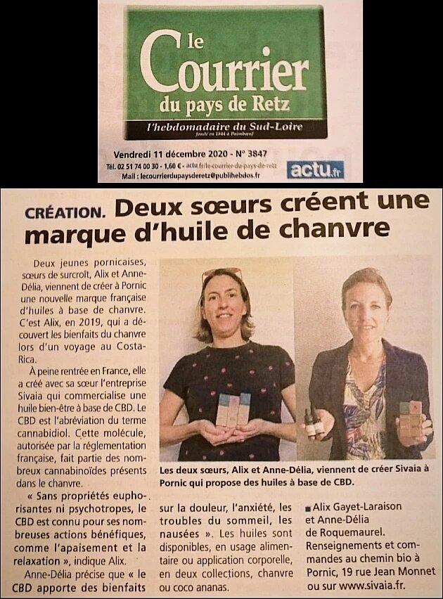 Article de presse journal Le Courrier du pays de Retz