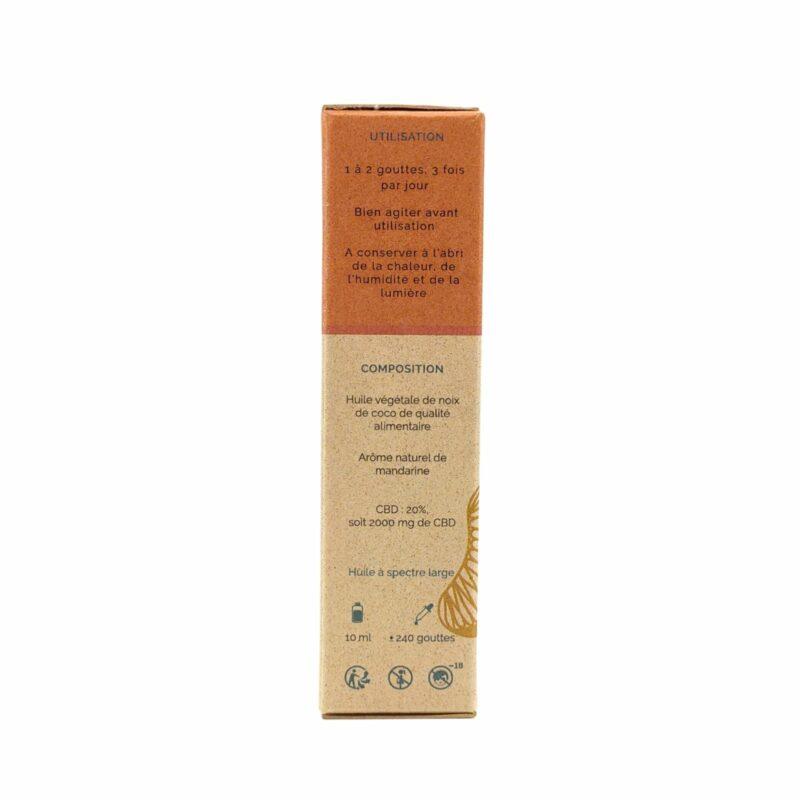 Packaging huile de CBD Coco Mandarine 20%